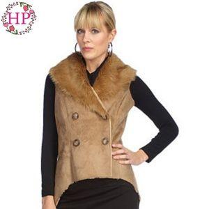 K-DASH by Kardashian Double Breasted Faux Fur Vest